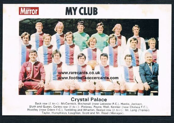 1970 My Club Daily Mirror postcard-size card Crystal Palace
